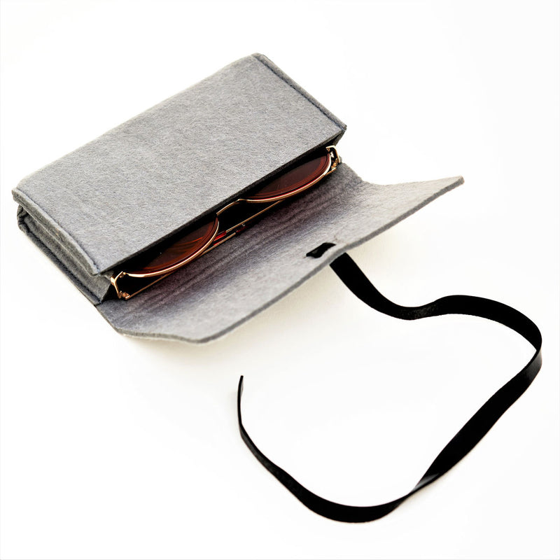 Original SOLFUL Ibiza octagon sunglasses case made from durable hard cotton with black safety strap