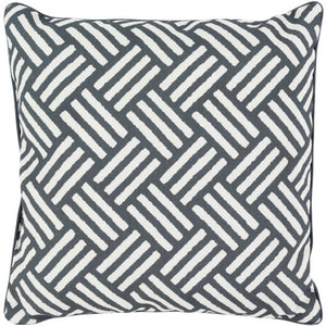 Surya Basketweave Outdoor Throw Pillow - Black & Ivory