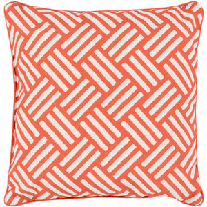 Surya Basketweave Outdoor Throw Pillow - Burnt Orange & Ivory