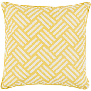 Surya Basketweave Outdoor Throw Pillow - Yellow & Ivory