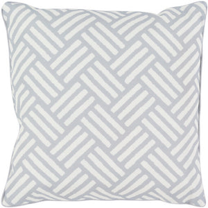 Surya Basketweave Outdoor Throw Pillow - Medium Gray & Ivory