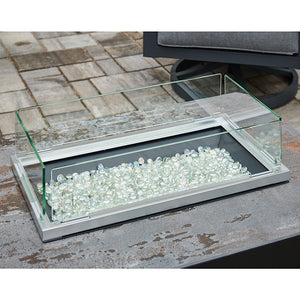"12""x24"" Folding Glass Wind Guard - The Outdoor GreatRoom Company - Fire Pit Table Sold Separately"