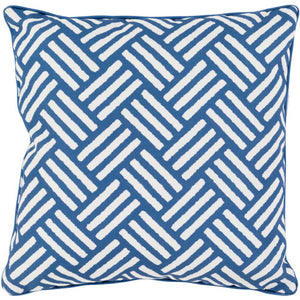 Surya Basketweave Outdoor Throw Pillow - Navy & Ivory