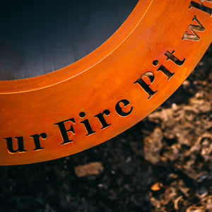 "Saturn ""Welcome to our Fire Pit where Friends and Marshmallows get Toasted"" Wood Burning Fire Pit"