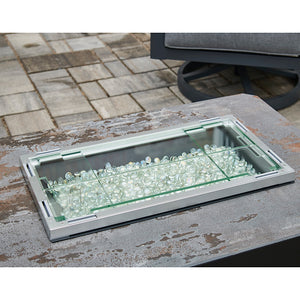 "12""x24"" Folding Glass Wind Guard - The Outdoor GreatRoom Company -Fire Pit Table Sold Separately"