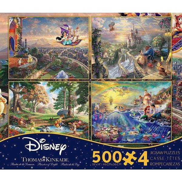 Ceaco-Thomas Kinkade-Disney 4in1 Puzzles Beauty and the Beast,Winnie the Pooh, Aladdin, The Little Mermaid