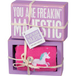 Primitives By Kathy - You Are Freakin Majestic - Box sign and Socks