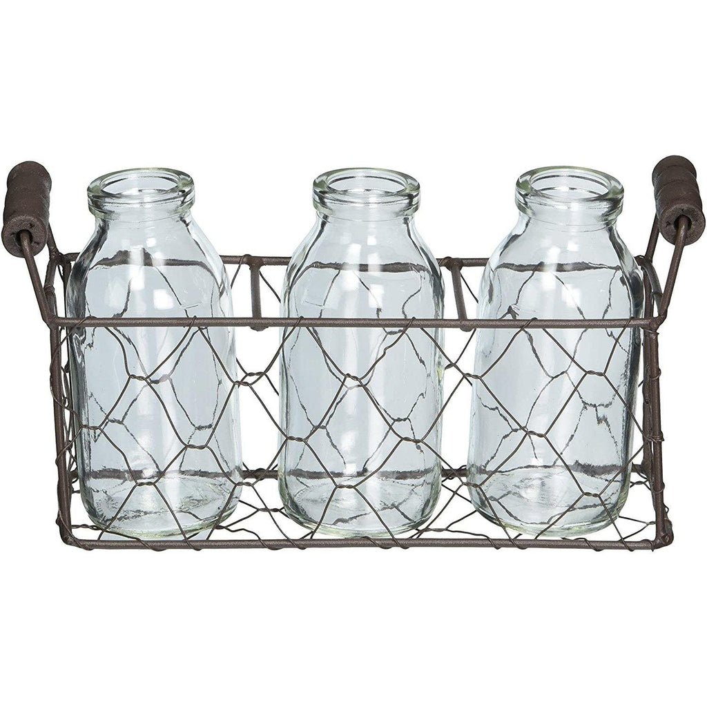 Blossom Bucket - Small Rectangle Decorative Metal Basket with Three Glass Bottles