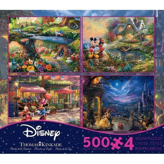 Ceaco - Disney 4 In 1 Puzzles Alice In Wonderland, Mickey and Minnie Mouse (2), Beauty and The Beast - Puzzles
