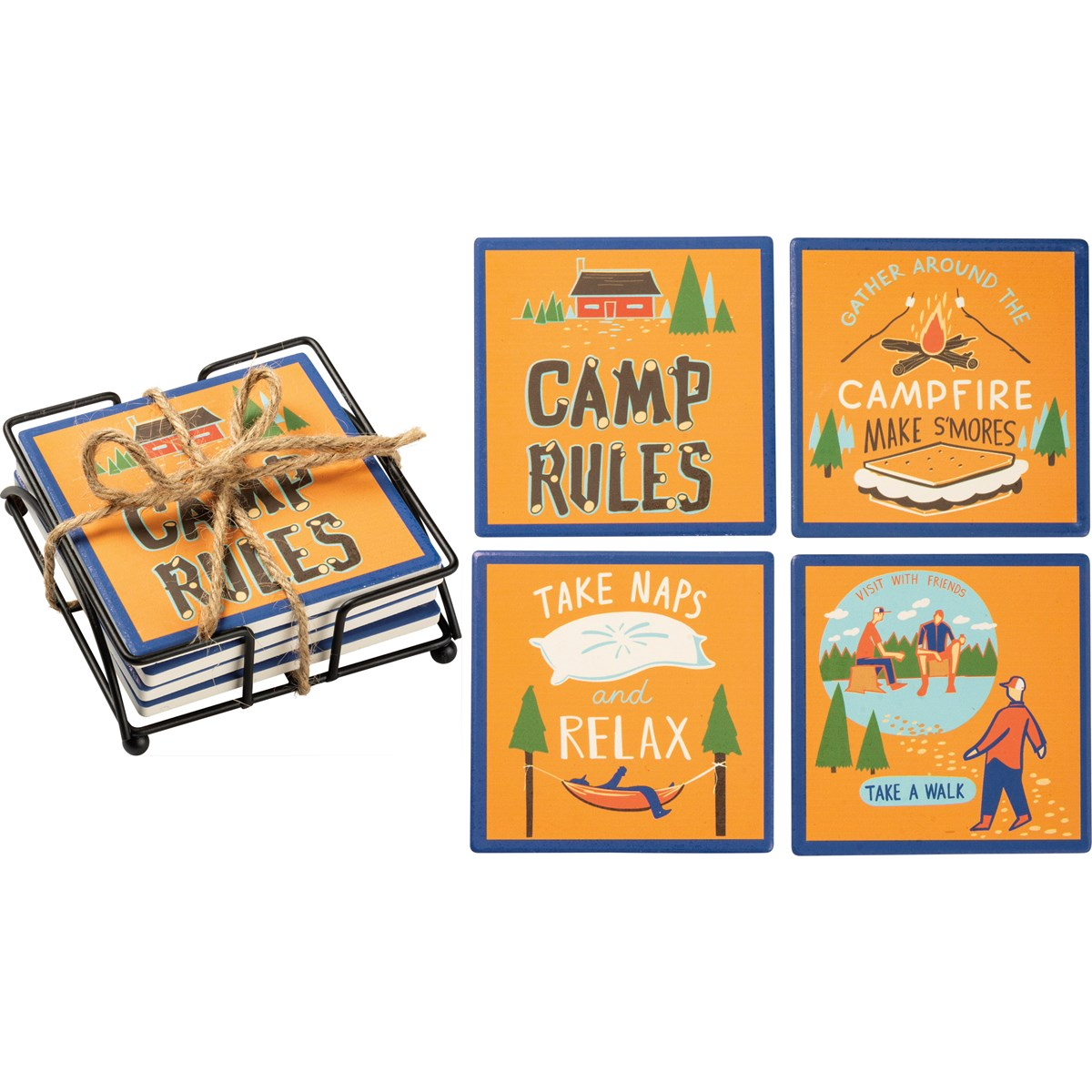Primitives By Kathy-Camp Rules- Coaster Set