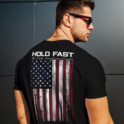 Kerusso-Hold Fast American Flag T Shirt