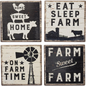 Primitives By Kathy - Farm Sweet Farm - Coaster Set