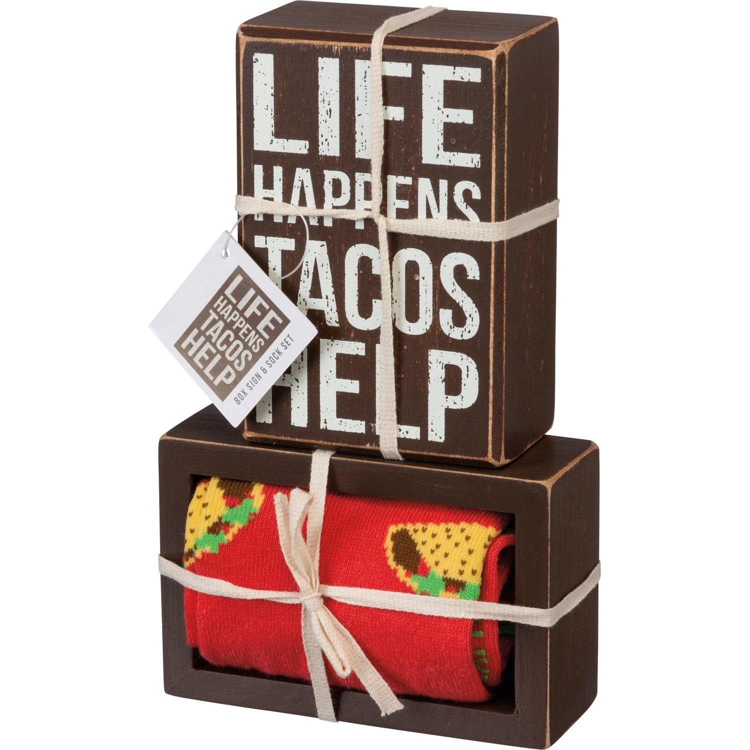 Primitives By Kathy - Life Happens Tacos Help - Box Sign