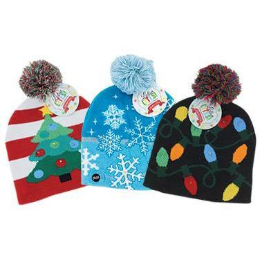 DM  Light Up Knitted Christmas Hats