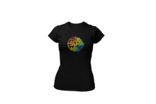 Load image into Gallery viewer, Upperlayer Womens Softstyle tshirt with Multicoloured Aloha circle
