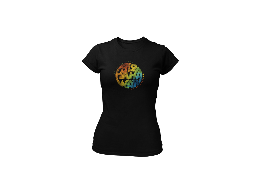 Upperlayer Womens Softstyle tshirt with Multicoloured Aloha circle