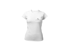 Upperlayer Womens White softstyle tshirt with small black logo - upperlayer-clothing.myshopify.com