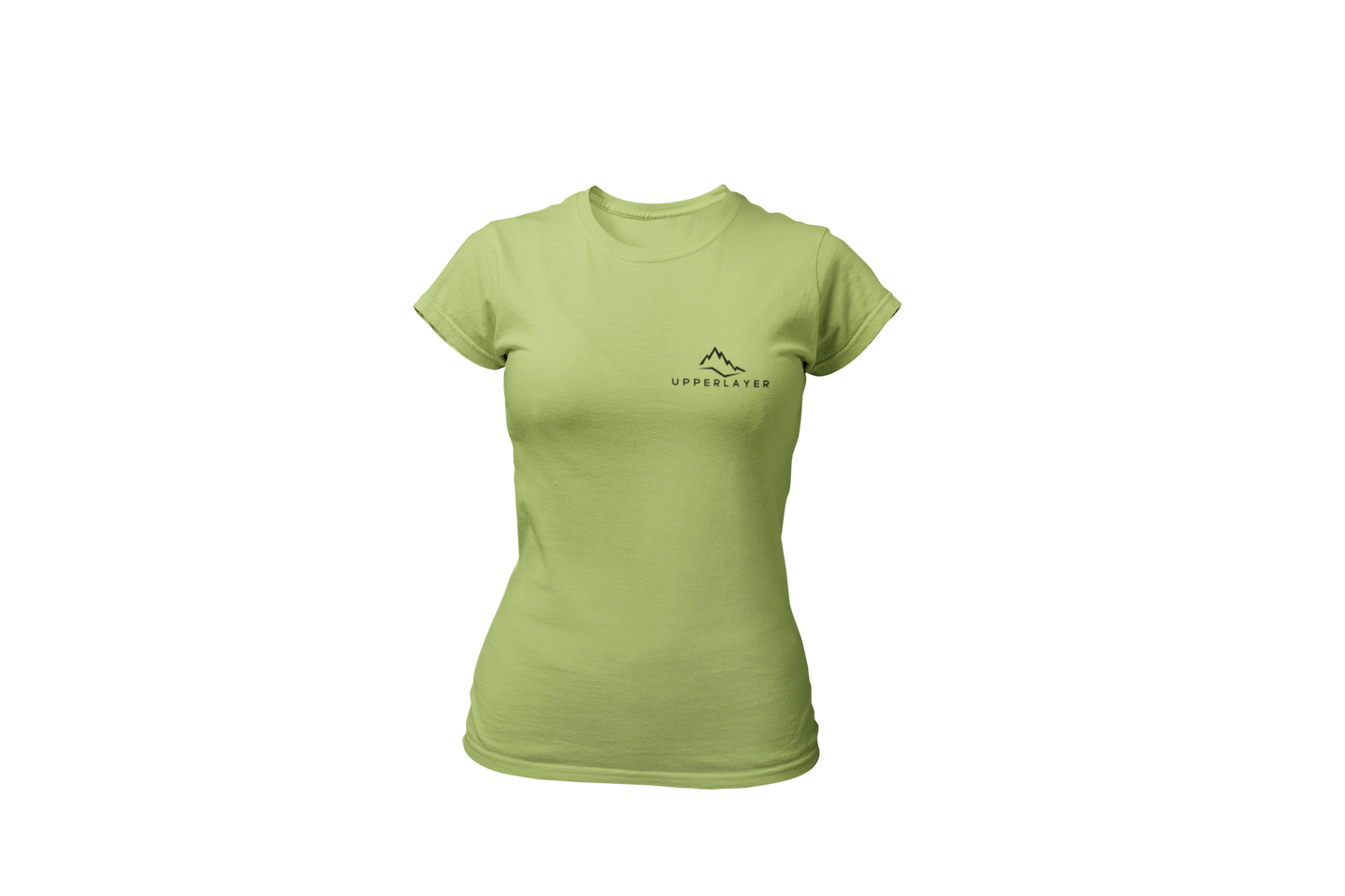 Upperlayer Womens Softstyle Green tshirt with small black logo - upperlayer-clothing.myshopify.com