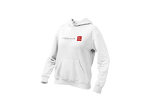 Load image into Gallery viewer, Women's Upperlayer White hoodie with square logo