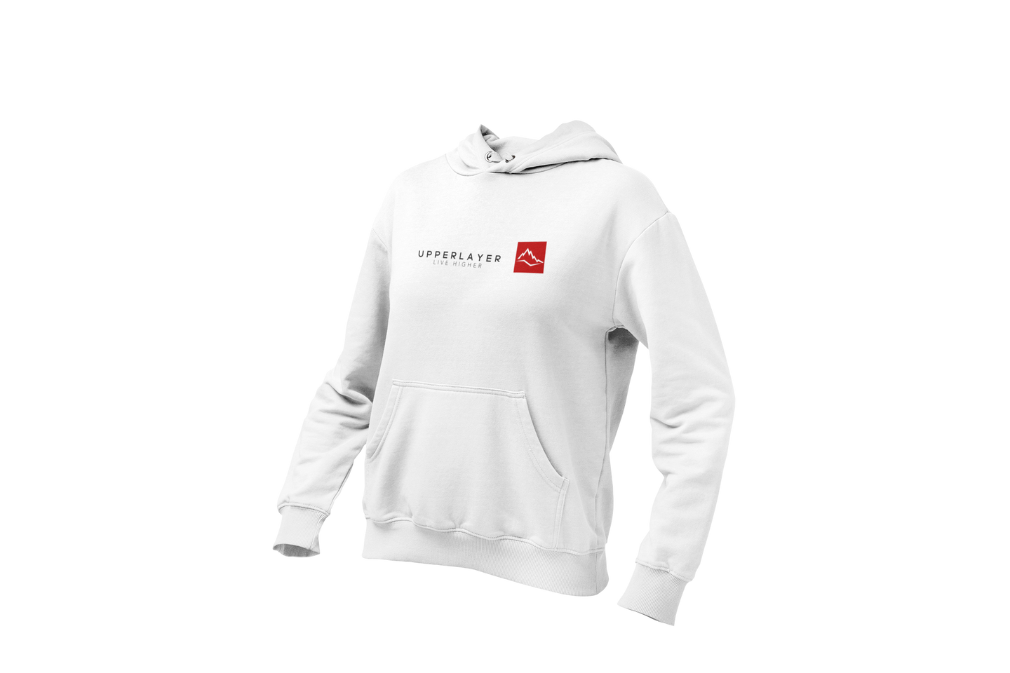 Women's Upperlayer White hoodie with square logo