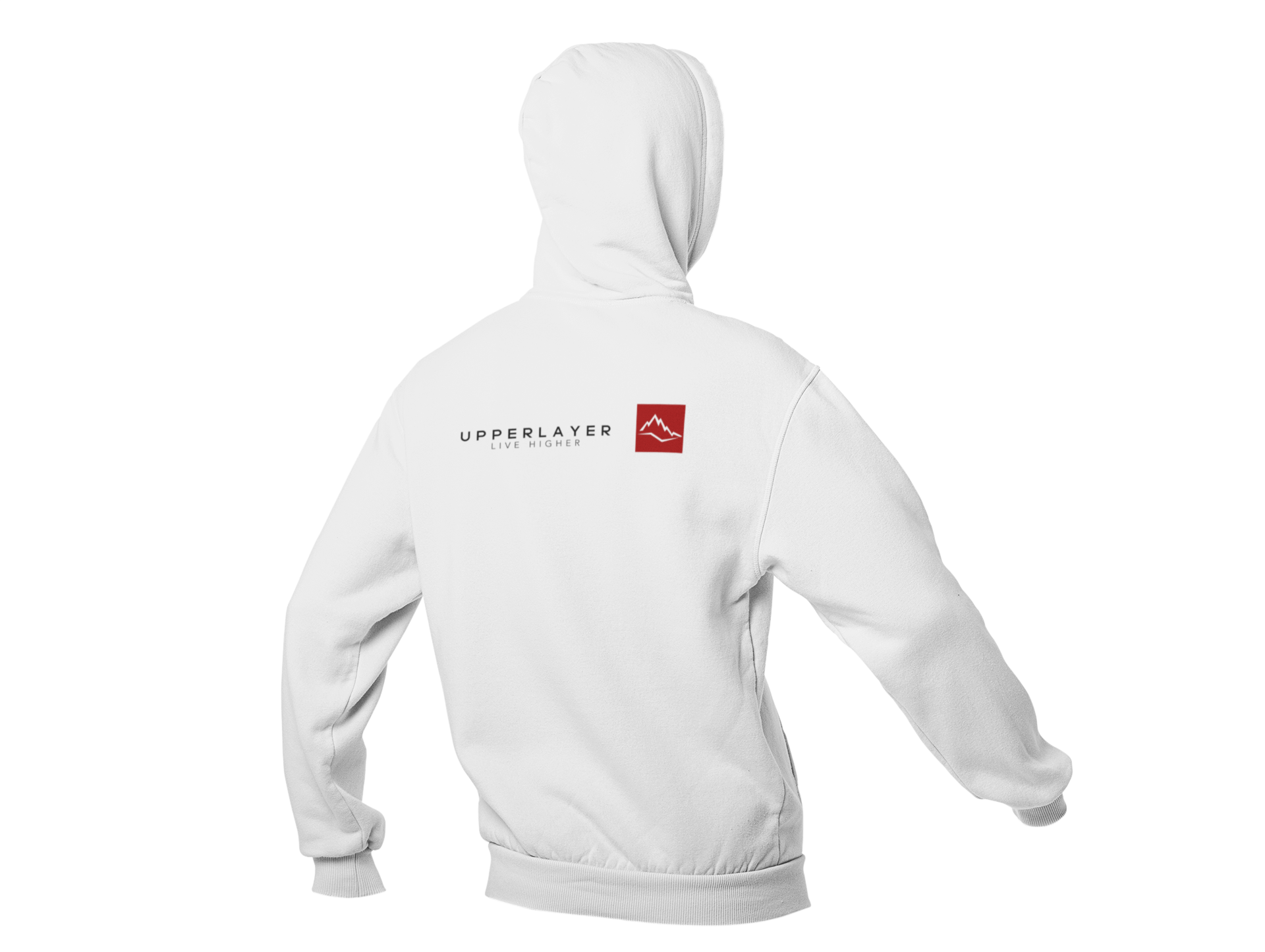 Upperlayer Arctic White Zip up hoodie with red square logo