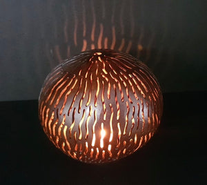 Handmade Coconut Shell Carving (Vertical Lava Lines)