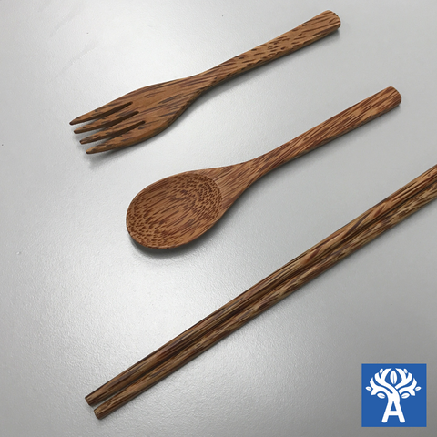 Coconut Wood Chopsticks (1 pair), Fork and Spoon