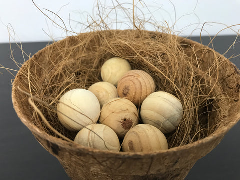Bird Nest with Wooden Round Eggs