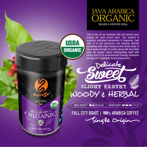 Organic Single-Origin Java Arabica Coffee 200g (Ground)