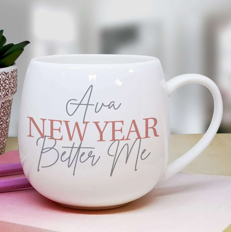 Personalised Grey & Blush Hug Mug