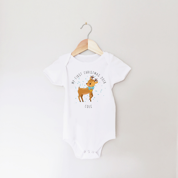 My First Christmas Personalised Deer Baby Vest