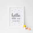 hello little one geometric nursery wall art for baby's room