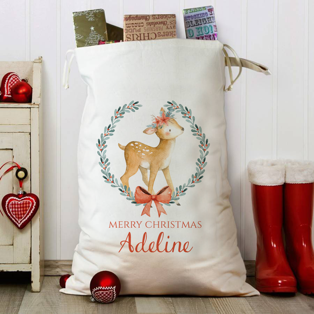 Little Deer Personalised Christmas Sack