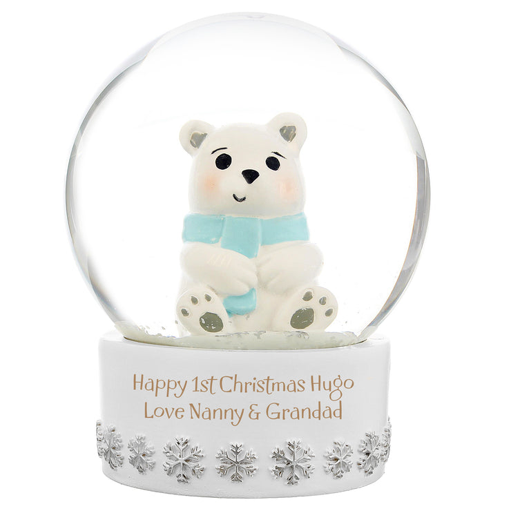 Personalised Christmas Polar Bear Snow Globe