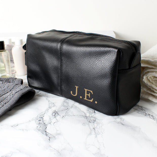 Custom Luxury Initials Black Wash Bag