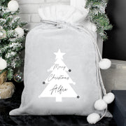 Personalised Christmas Tree Luxury Grey Pom Pom Sack