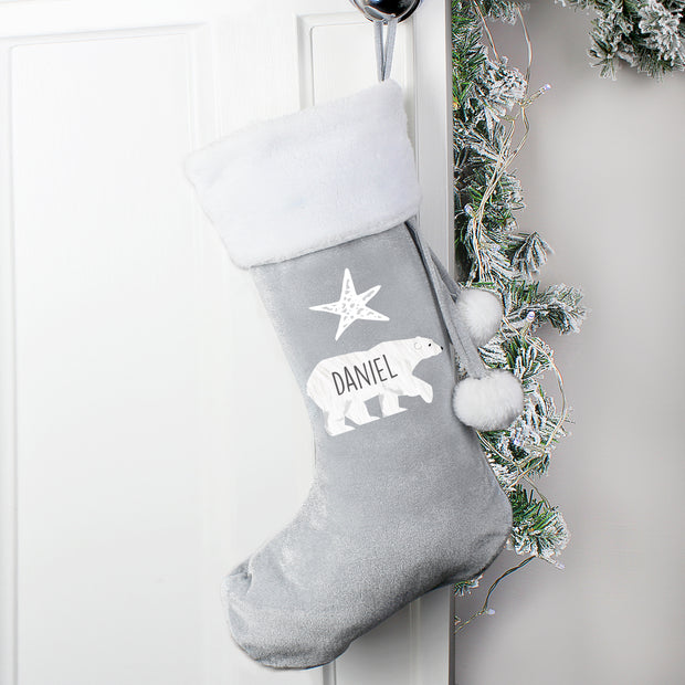 Personalised Polar Bear Luxury Grey Stocking