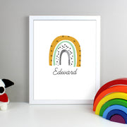Mustard & Green Rainbow Framed Print