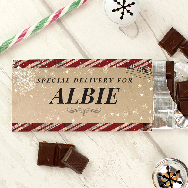 Personalised Christmas Special Delivery Milk Chocolate Bar