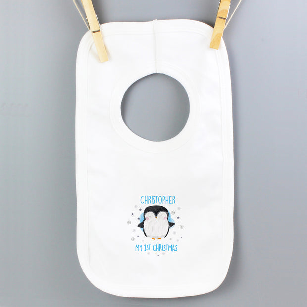 Personalised 1st Christmas Penguin Bib