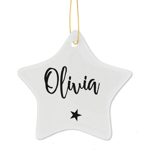 Personalised Name Ceramic Star Decoration