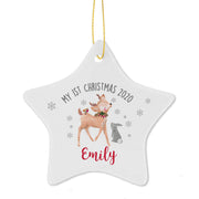 First Christmas Festive Fawn Star Decoration