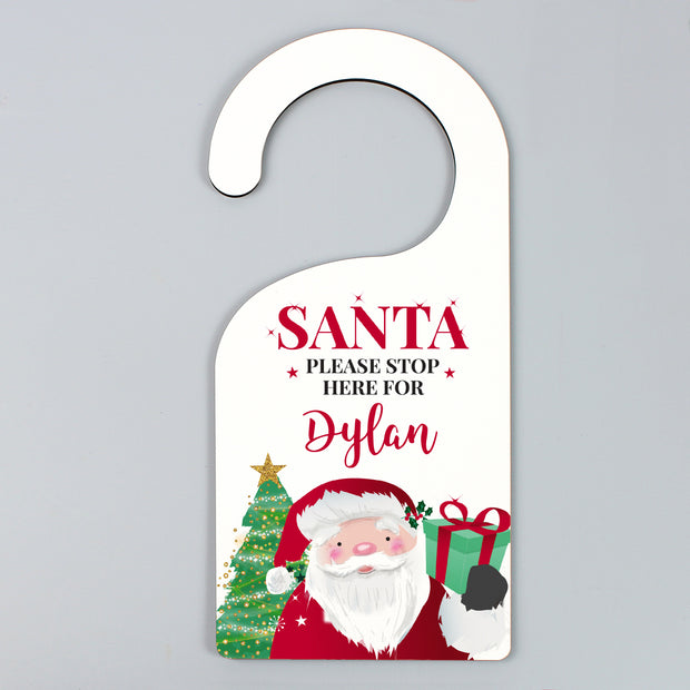 Personalised Santa Stop Here Door Hanger