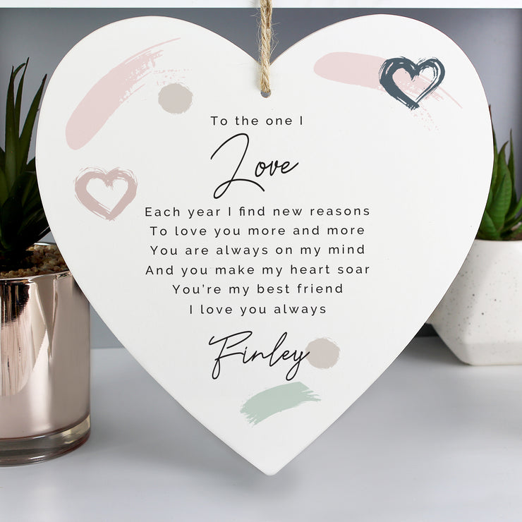 Personalised Love Wooden Heart