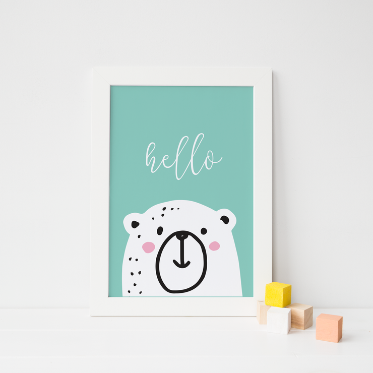 Peek A Boo Polar Bear Nursery Print