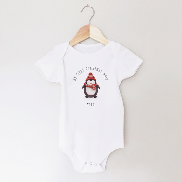 My First Christmas Personalised Penguin Baby Vest