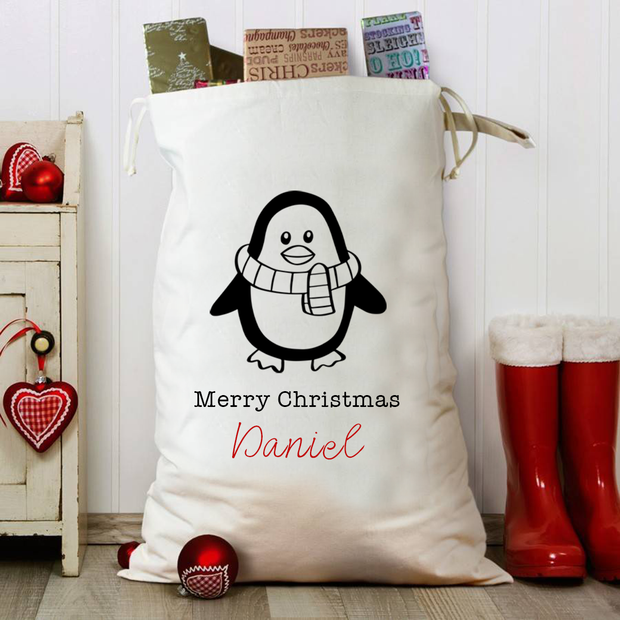 Little Penguin Personalised Christmas Sack