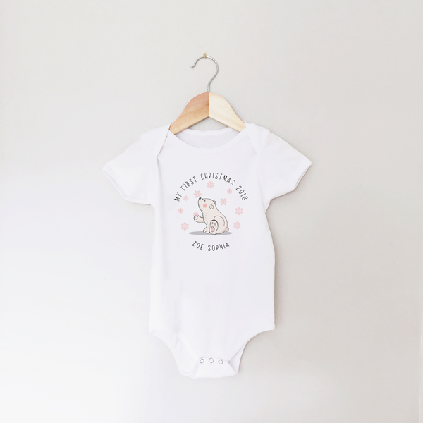 My First Christmas Personalised Polar Bear Baby Vest