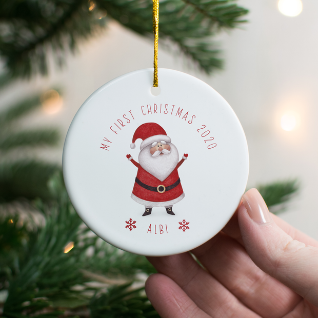 Personalised 1st Christmas Santa Decoration