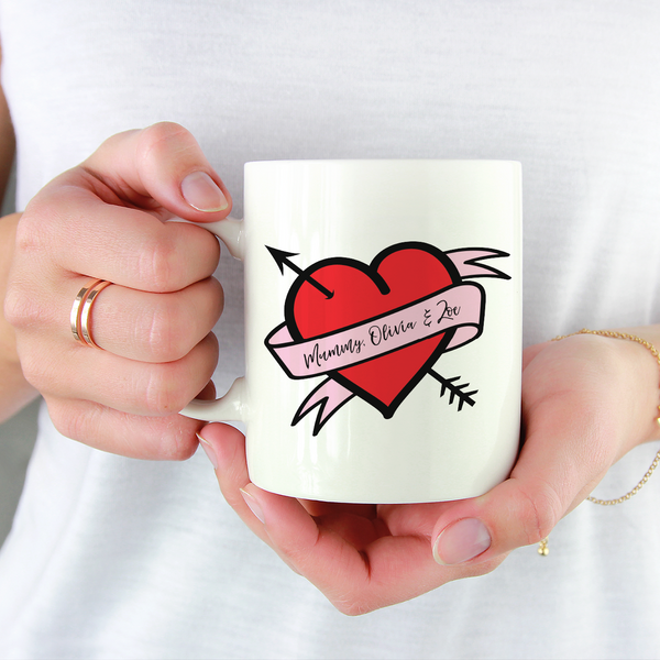 Custom Love Heart Tattoo Mug